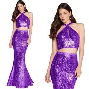 $398 NWT ALYCE Paris Eggplant Sequin Party Gown 6